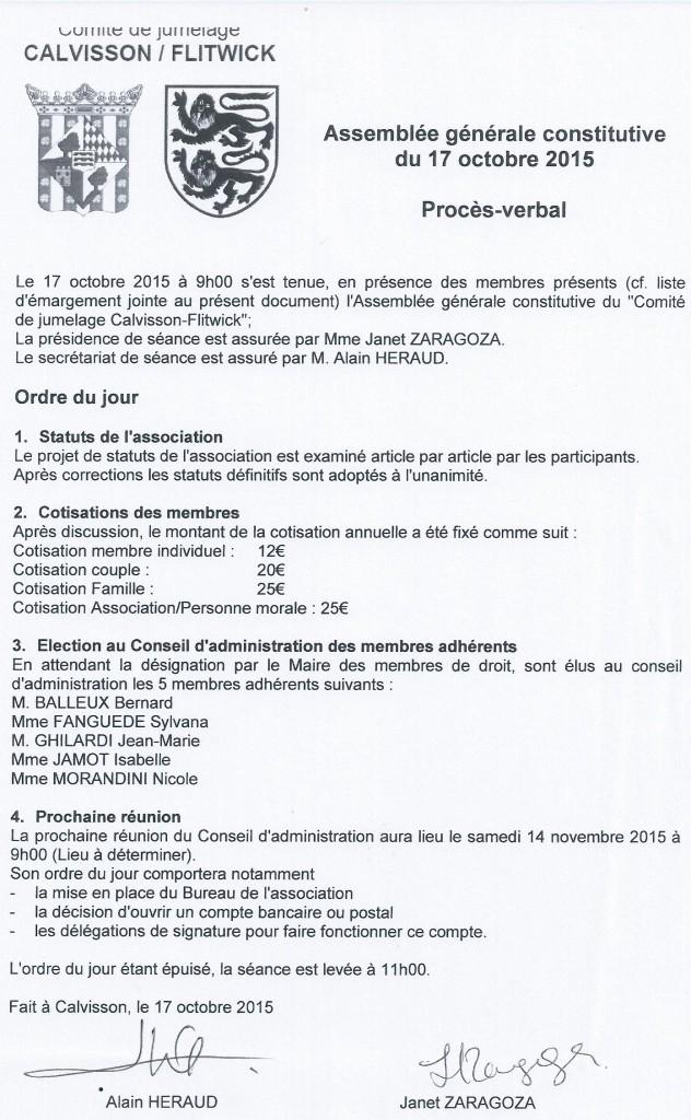 PV Assemblée Générale Constitutive Association Jumelage